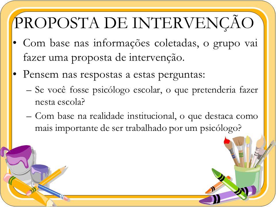 PROPOSTA DE INTERVENÇÃO Com base nas informações coletadas, o grupo vai fazer uma proposta de intervenção. Pensem nas respostas a estas perguntas: –Se