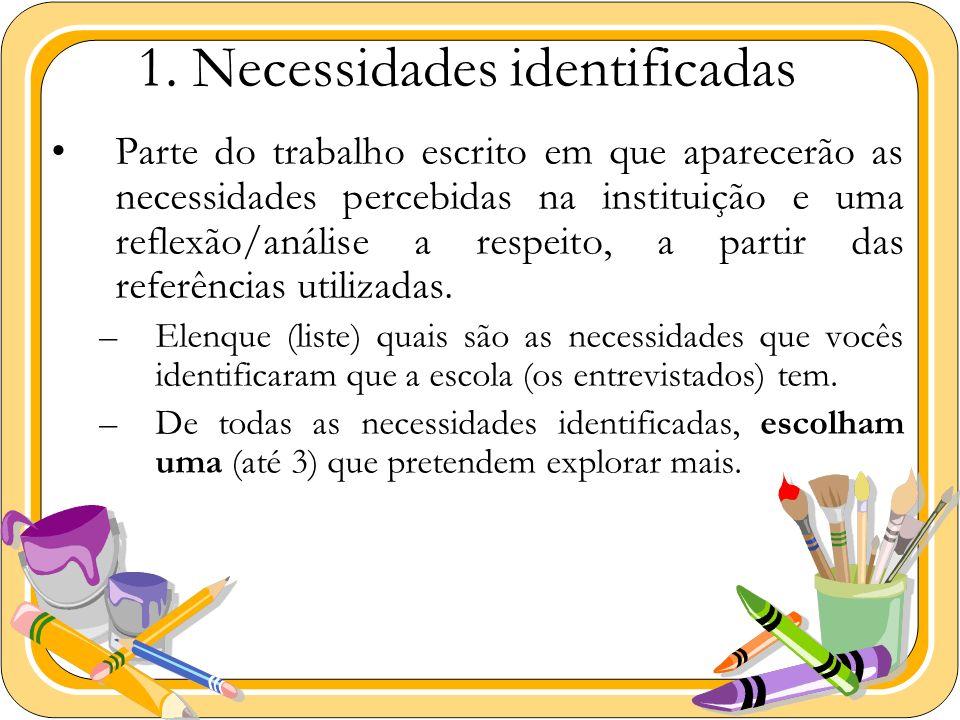 1. Necessidades identificadas Parte do trabalho escrito em que aparecerão as necessidades percebidas na instituição e uma reflexão/análise a respeito,