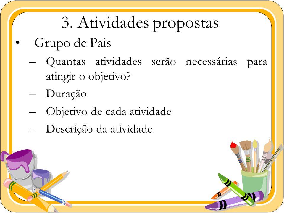 3. Atividades propostas Grupo de Pais –Quantas atividades serão necessárias para atingir o objetivo? –Duração –Objetivo de cada atividade –Descrição d