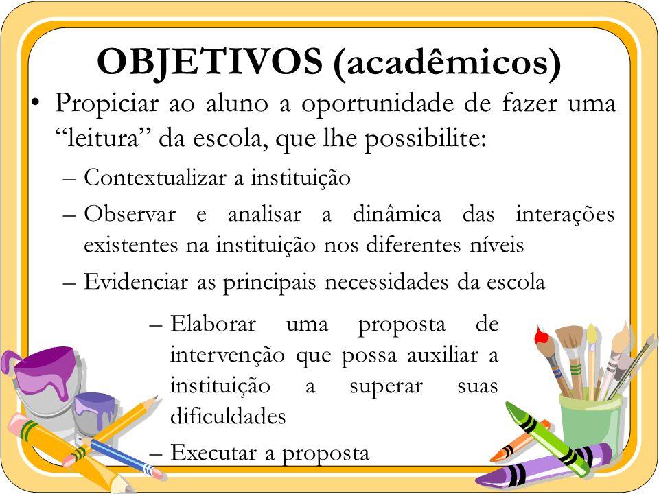 OBJETIVOS (acadêmicos) Propiciar ao aluno a oportunidade de fazer uma leitura da escola, que lhe possibilite: –Contextualizar a instituição –Observar