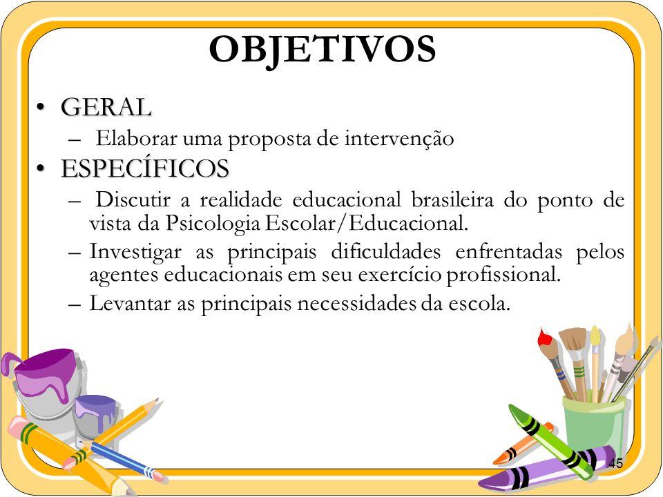 45 OBJETIVOS GERALGERAL – Elaborar uma proposta de intervenção ESPECÍFICOSESPECÍFICOS – Discutir a realidade educacional brasileira do ponto de vista