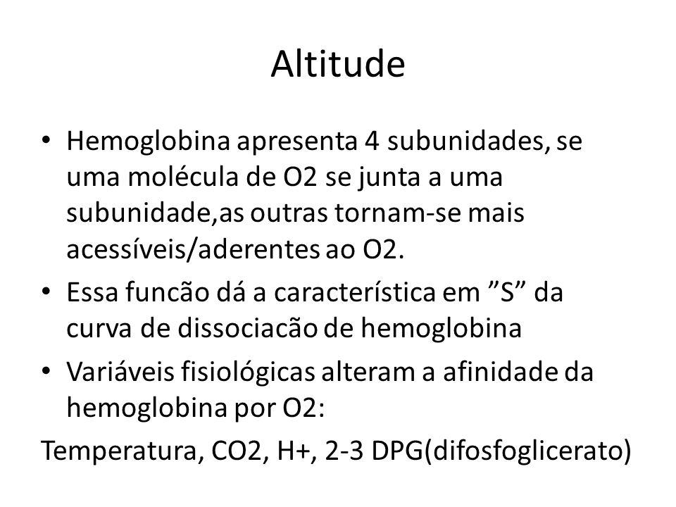 Altitude Hemoglobina apresenta 4 subunidades, se uma molécula de O2 se junta a uma subunidade,as outras tornam-se mais acessíveis/aderentes ao O2. Ess
