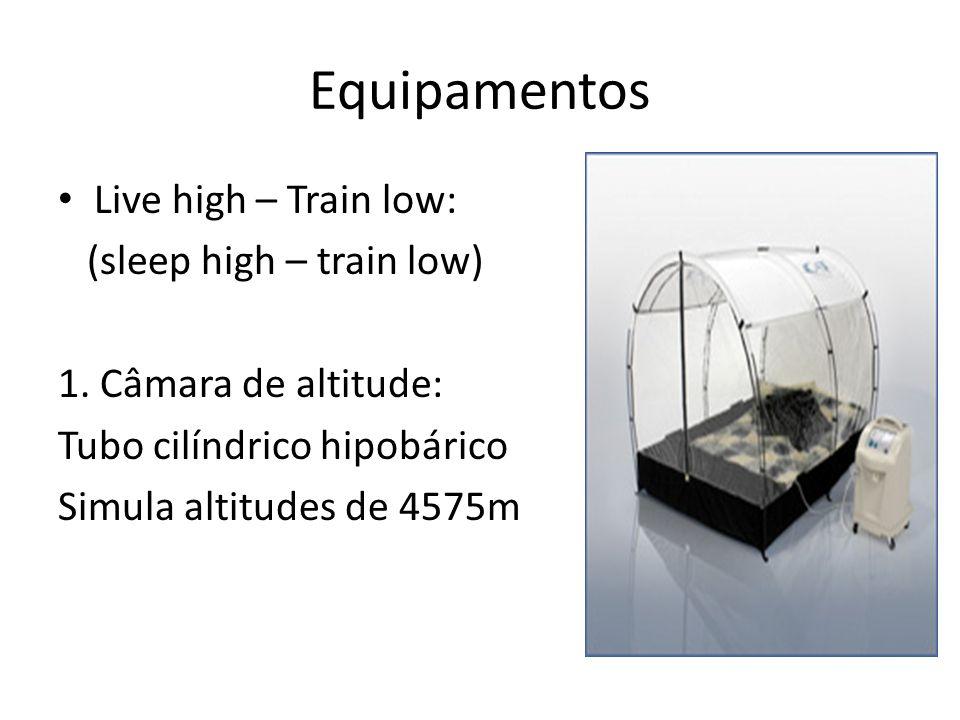 Equipamentos Live high – Train low: (sleep high – train low) 1. Câmara de altitude: Tubo cilíndrico hipobárico Simula altitudes de 4575m