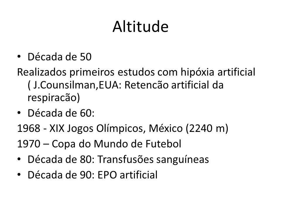 Altitude Década de 50 Realizados primeiros estudos com hipóxia artificial ( J.Counsilman,EUA: Retencão artificial da respiracão) Década de 60: 1968 -