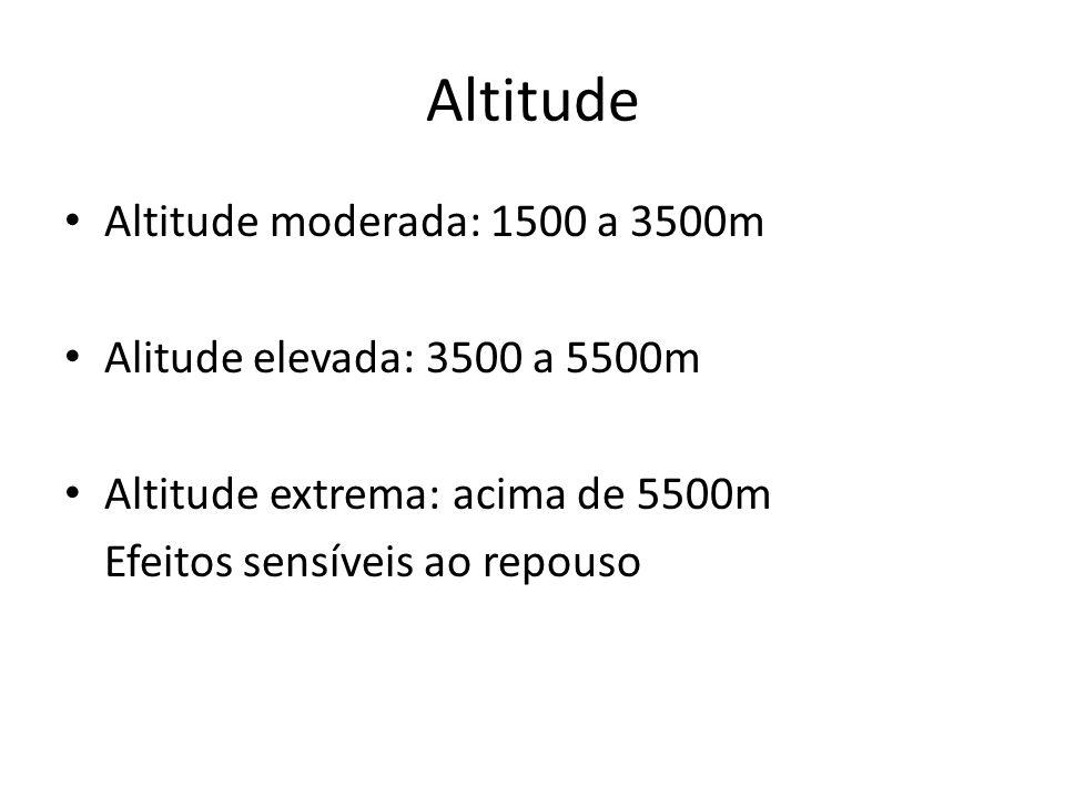 Altitude Altitude moderada: 1500 a 3500m Alitude elevada: 3500 a 5500m Altitude extrema: acima de 5500m Efeitos sensíveis ao repouso