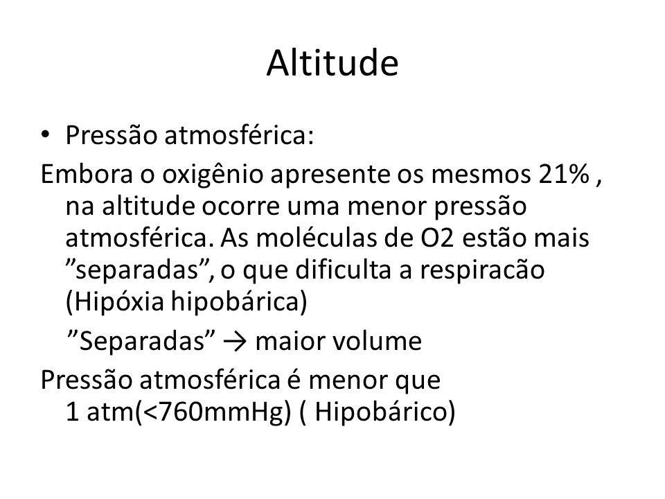 Altitude Pressão atmosférica: Embora o oxigênio apresente os mesmos 21%, na altitude ocorre uma menor pressão atmosférica. As moléculas de O2 estão ma