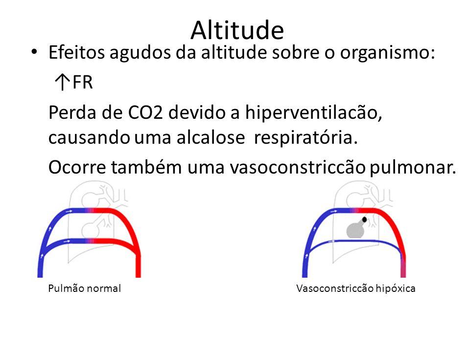Altitude Efeitos agudos da altitude sobre o organismo: FR Perda de CO2 devido a hiperventilacão, causando uma alcalose respiratória. Ocorre também uma