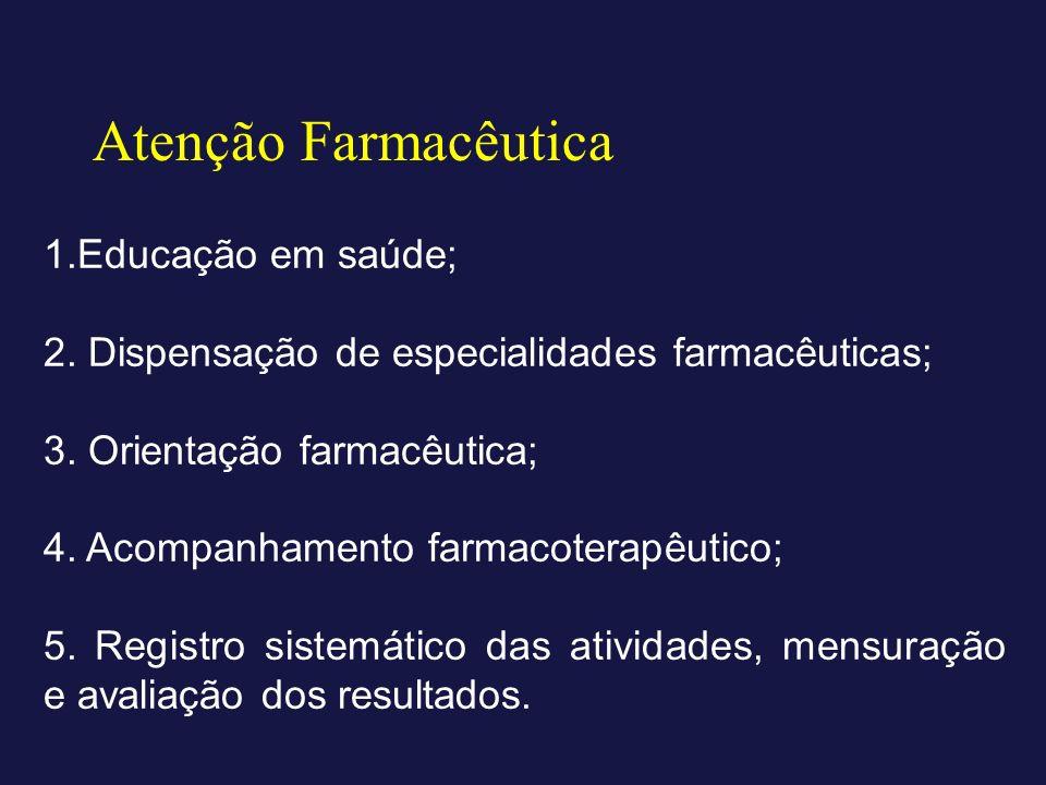 Atenção Farmacêutica 1.Educação em saúde; 2. Dispensação de especialidades farmacêuticas; 3. Orientação farmacêutica; 4. Acompanhamento farmacoterapêu