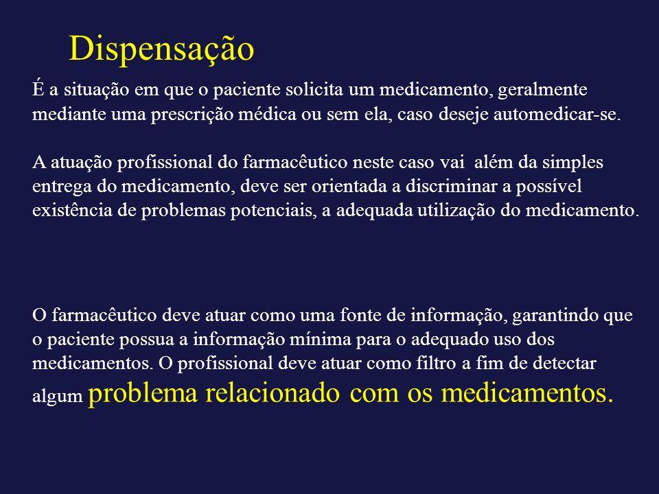 Dispensação É a situação em que o paciente solicita um medicamento, geralmente mediante uma prescrição médica ou sem ela, caso deseje automedicar-se.