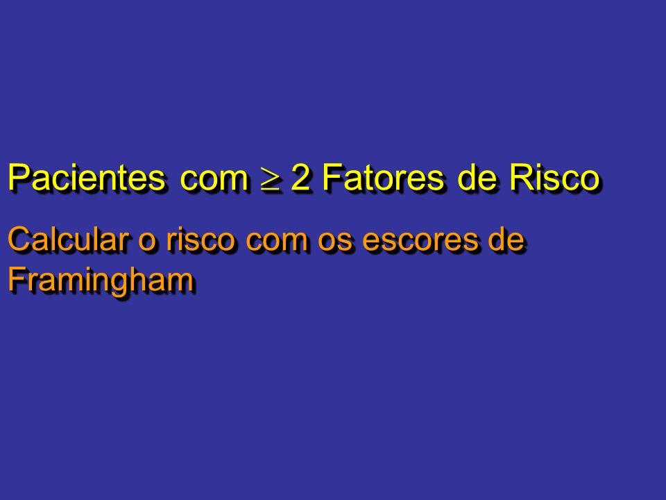 Pacientes com 2 Fatores de Risco Calcular o risco com os escores de Framingham Pacientes com 2 Fatores de Risco Calcular o risco com os escores de Fra
