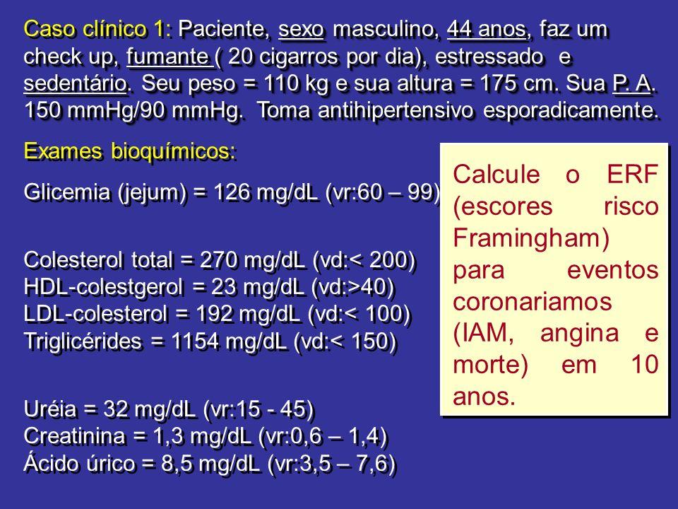 Paciente, sexo masculino, 44 anos, faz um check up, fumante ( 20 cigarros por dia), estressado e sedentário. Seu peso = 110 kg e sua altura = 175 cm.