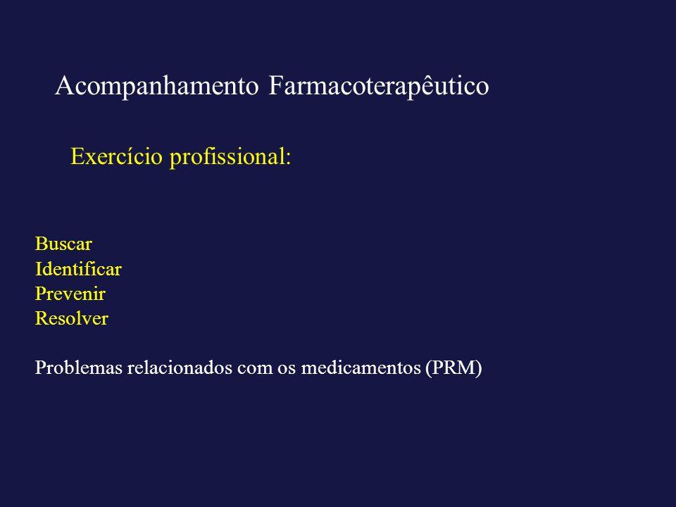 Exercício profissional: Acompanhamento Farmacoterapêutico Buscar Identificar Prevenir Resolver Problemas relacionados com os medicamentos (PRM)