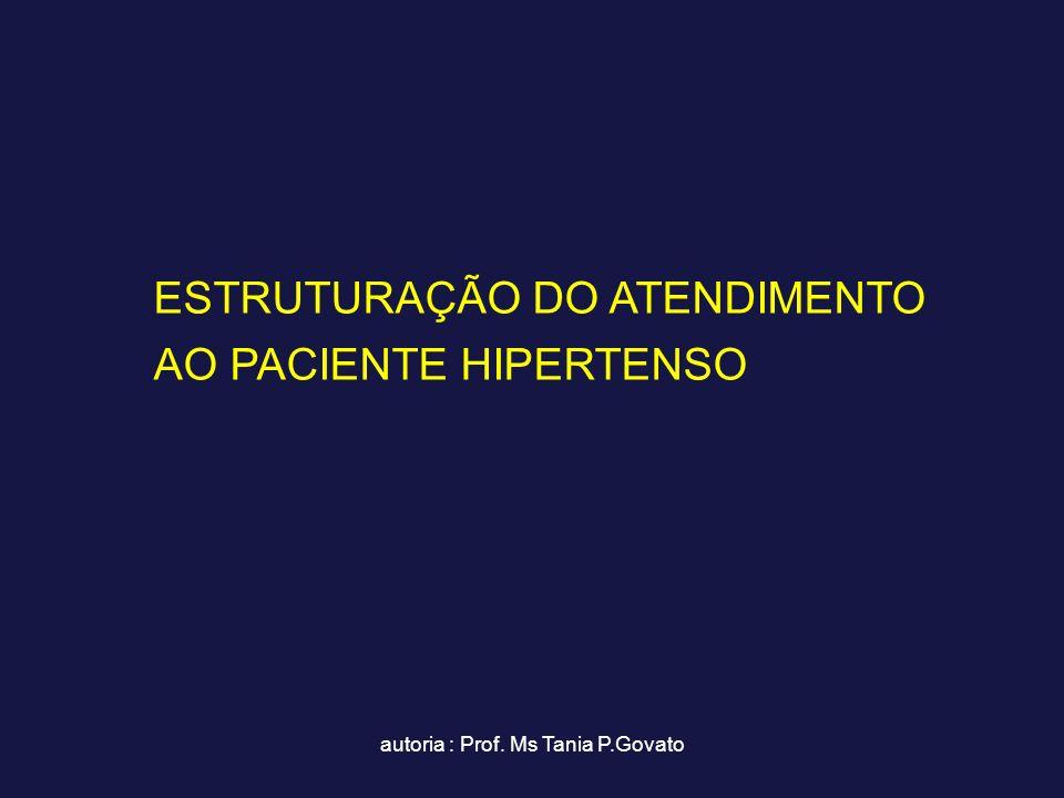 autoria : Prof. Ms Tania P.Govato ESTRUTURAÇÃO DO ATENDIMENTO AO PACIENTE HIPERTENSO