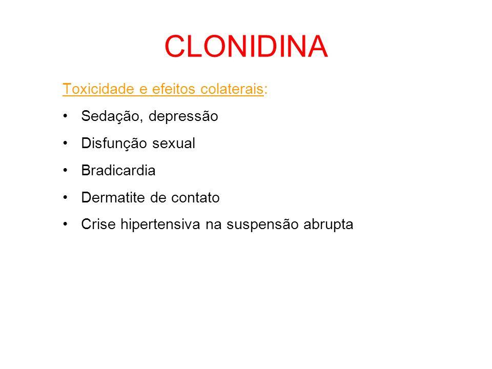 Toxicidade e efeitos colaterais: Sedação, depressão Disfunção sexual Bradicardia Dermatite de contato Crise hipertensiva na suspensão abrupta CLONIDIN