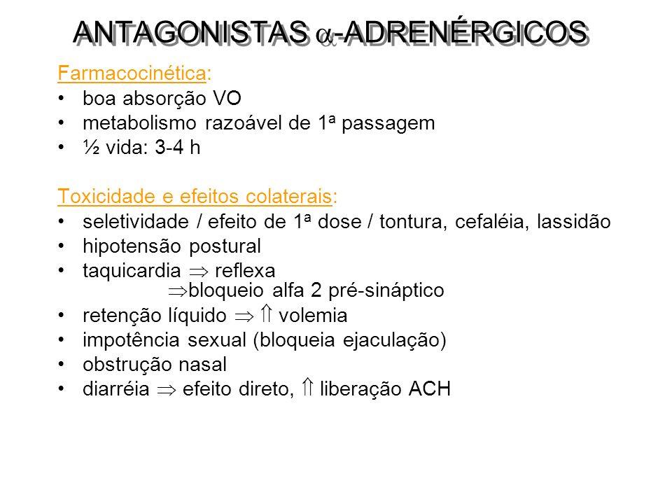 Farmacocinética: boa absorção VO metabolismo razoável de 1 a passagem ½ vida: 3-4 h Toxicidade e efeitos colaterais: seletividade / efeito de 1 a dose