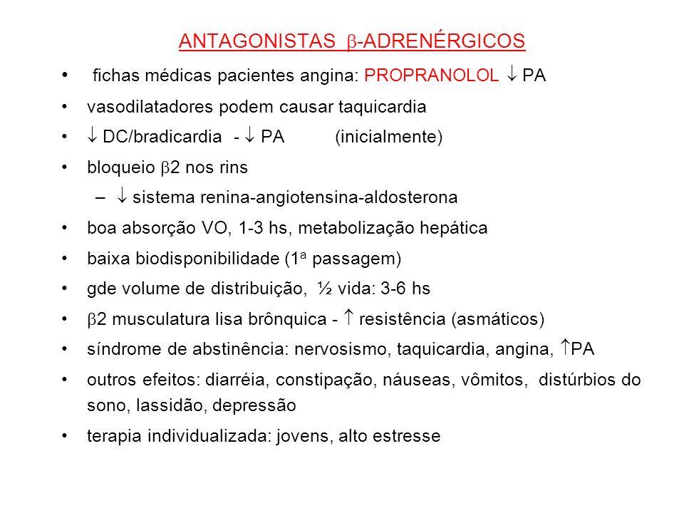 ANTAGONISTAS -ADRENÉRGICOS fichas médicas pacientes angina: PROPRANOLOL PA vasodilatadores podem causar taquicardia DC/bradicardia - PA(inicialmente)