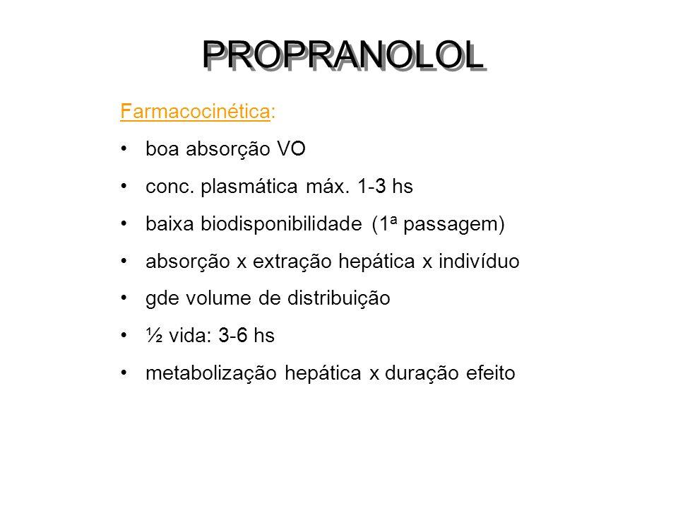 Farmacocinética: boa absorção VO conc. plasmática máx. 1-3 hs baixa biodisponibilidade (1 a passagem) absorção x extração hepática x indivíduo gde vol