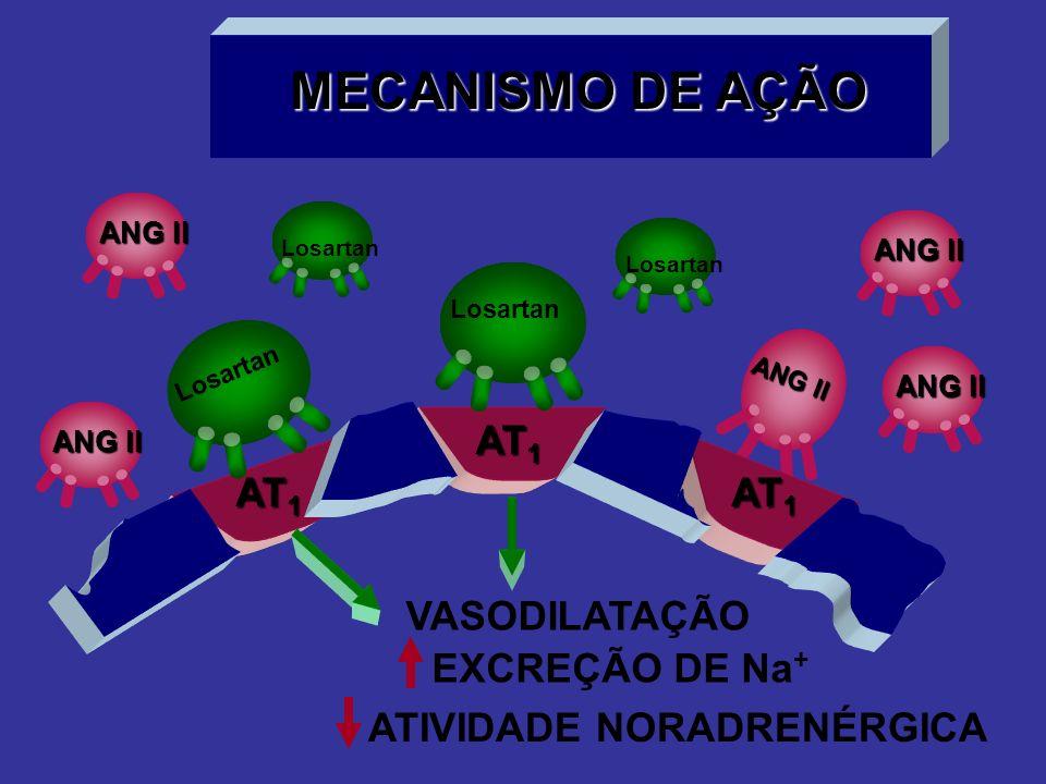 MECANISMO DE AÇÃO ANG II AT 1 VASODILATAÇÃO EXCREÇÃO DE Na + ATIVIDADE NORADRENÉRGICA Losartan