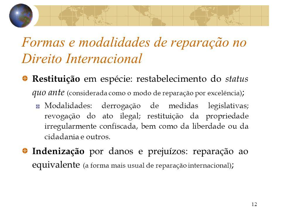 12 Restituição em espécie: restabelecimento do status quo ante (considerada como o modo de reparação por excelência) ; Modalidades: derrogação de medi