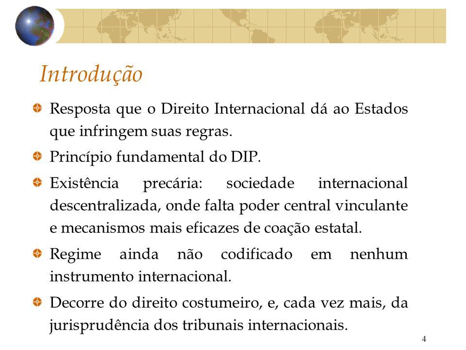 4 Introdução Resposta que o Direito Internacional dá ao Estados que infringem suas regras. Princípio fundamental do DIP. Existência precária: sociedad