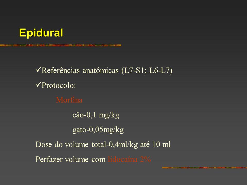 Epidural Referências anatómicas (L7-S1; L6-L7) Protocolo: Morfina cão-0,1 mg/kg gato-0,05mg/kg Dose do volume total-0,4ml/kg até 10 ml Perfazer volume