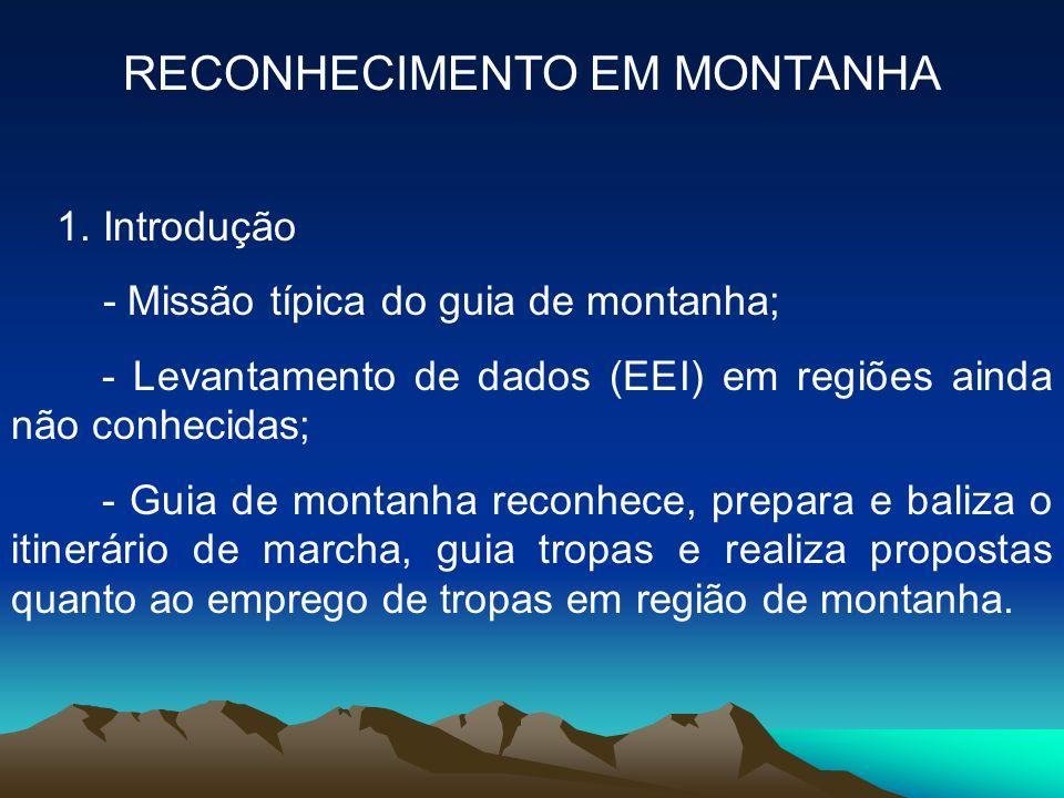RECONHECIMENTO EM MONTANHA 1. Introdução - Missão típica do guia de montanha; - Levantamento de dados (EEI) em regiões ainda não conhecidas; - Guia de