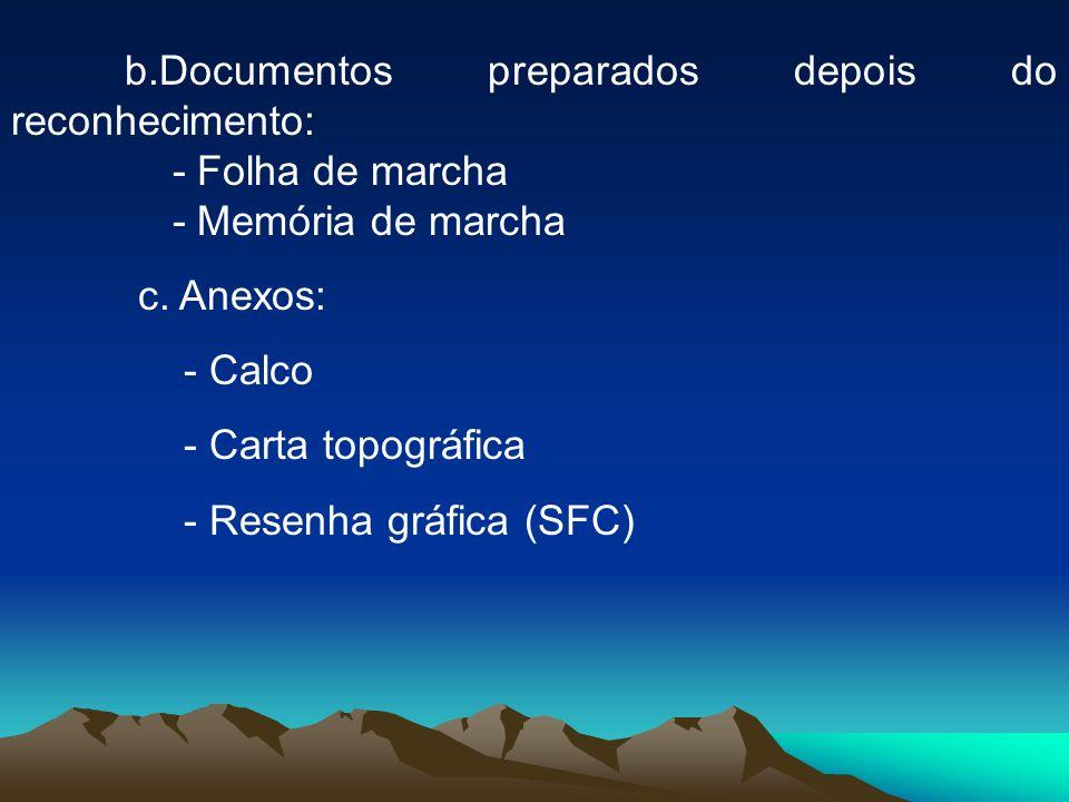 b.Documentos preparados depois do reconhecimento: - Folha de marcha - Memória de marcha c. Anexos: - Calco - Carta topográfica - Resenha gráfica (SFC)