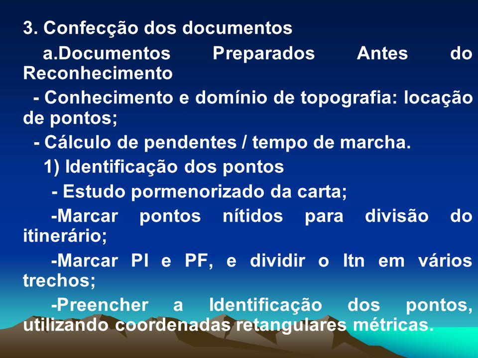 3. Confecção dos documentos a.Documentos Preparados Antes do Reconhecimento - Conhecimento e domínio de topografia: locação de pontos; - Cálculo de pe