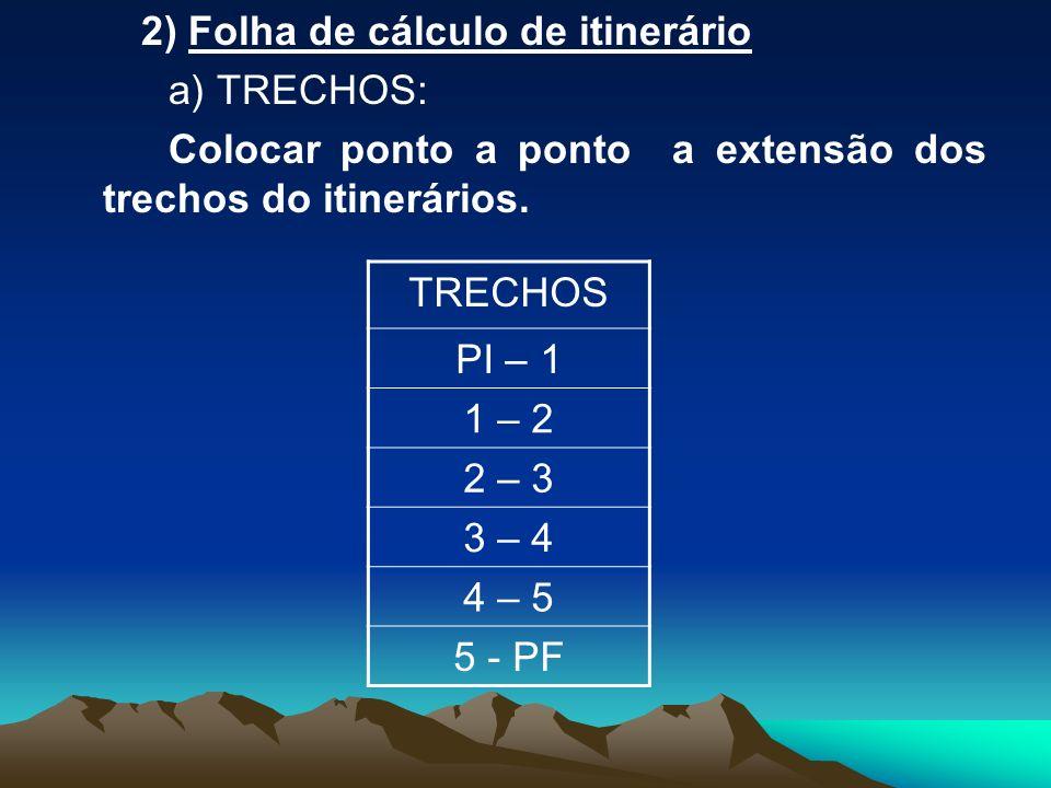 2) Folha de cálculo de itinerário a) TRECHOS: Colocar ponto a ponto a extensão dos trechos do itinerários. TRECHOS PI – 1 1 – 2 2 – 3 3 – 4 4 – 5 5 -
