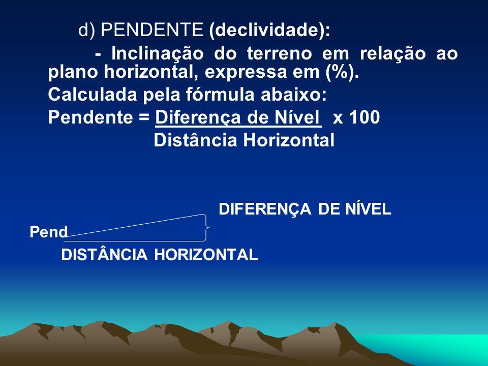 d) PENDENTE (declividade): - Inclinação do terreno em relação ao plano horizontal, expressa em (%). Calculada pela fórmula abaixo: Pendente = Diferenç