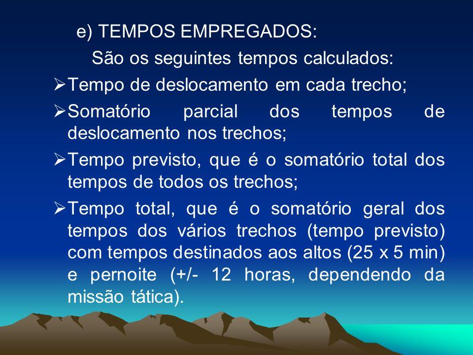 e) TEMPOS EMPREGADOS: São os seguintes tempos calculados: Tempo de deslocamento em cada trecho; Somatório parcial dos tempos de deslocamento nos trech
