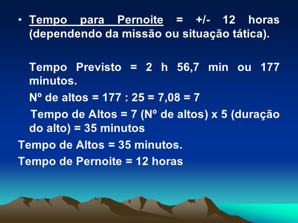 Tempo para Pernoite = +/- 12 horas (dependendo da missão ou situação tática). Tempo Previsto = 2 h 56,7 min ou 177 minutos. Nº de altos = 177 : 25 = 7