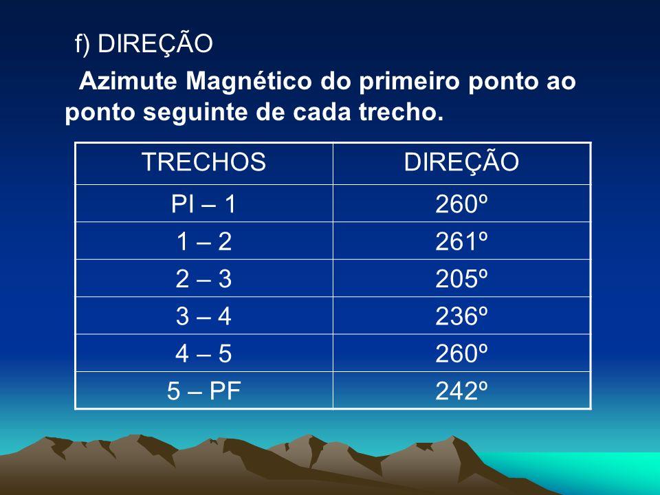 f) DIREÇÃO Azimute Magnético do primeiro ponto ao ponto seguinte de cada trecho. TRECHOSDIREÇÃO PI – 1260º 1 – 2261º 2 – 3205º 3 – 4236º 4 – 5260º 5 –