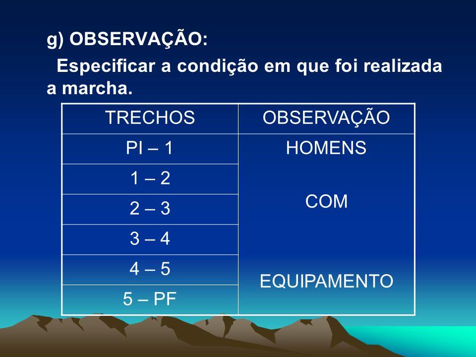 g) OBSERVAÇÃO: Especificar a condição em que foi realizada a marcha. TRECHOSOBSERVAÇÃO PI – 1HOMENS COM EQUIPAMENTO 1 – 2 2 – 3 3 – 4 4 – 5 5 – PF