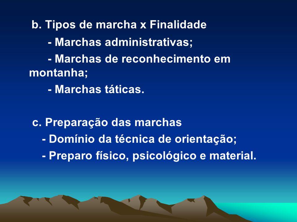 b. Tipos de marcha x Finalidade - Marchas administrativas; - Marchas de reconhecimento em montanha; - Marchas táticas. c. Preparação das marchas - Dom