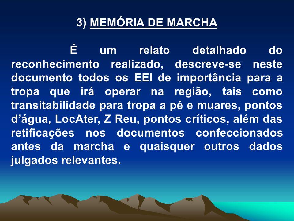 3) MEMÓRIA DE MARCHA É um relato detalhado do reconhecimento realizado, descreve-se neste documento todos os EEI de importância para a tropa que irá o