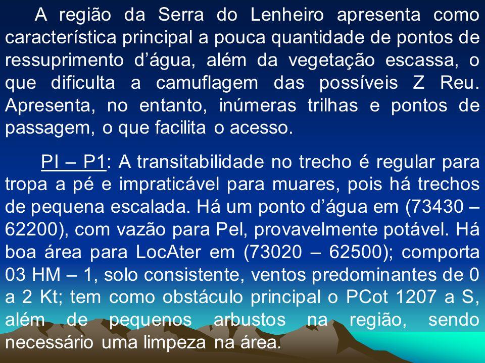 A região da Serra do Lenheiro apresenta como característica principal a pouca quantidade de pontos de ressuprimento dágua, além da vegetação escassa,