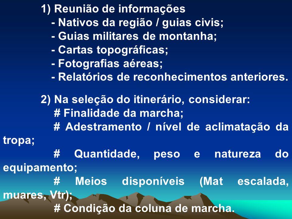 3) Seleção do material - Condições climáticas; - Época do ano; - Duração da marcha; - Missão ou finalidade.