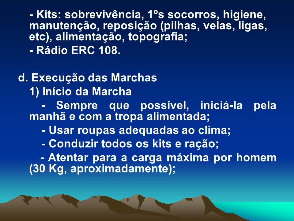 - Kits: sobrevivência, 1ºs socorros, higiene, manutenção, reposição (pilhas, velas, ligas, etc), alimentação, topografia; - Rádio ERC 108. d. Execução