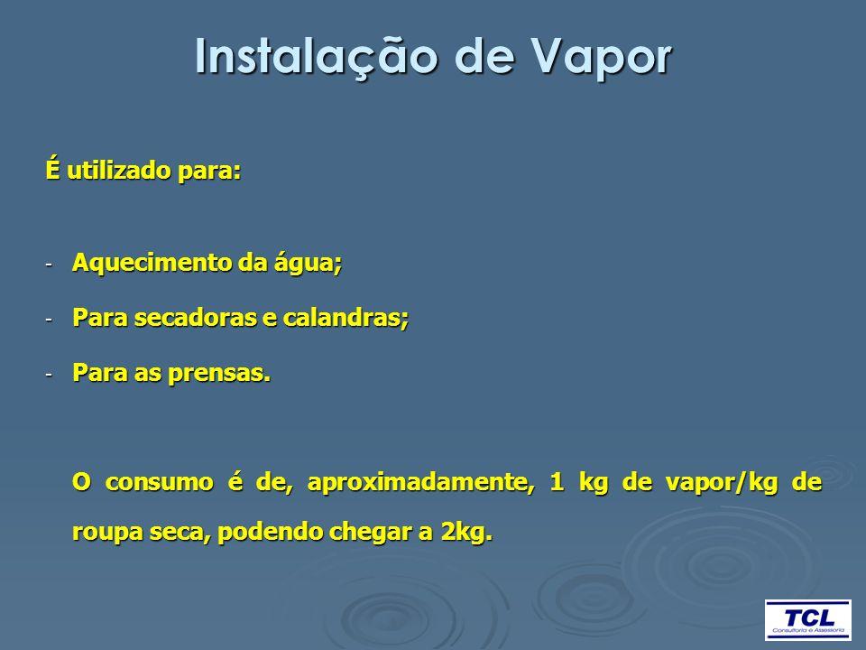 Instalação de Vapor É utilizado para: - Aquecimento da água; - Para secadoras e calandras; - Para as prensas. O consumo é de, aproximadamente, 1 kg de