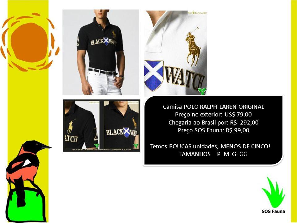 Camisa POLO RALPH LAREN ORIGINAL Preço no exterior: US$ 79.00 Chegaria ao Brasil por: R$ 292,00 Preço SOS Fauna: R$ 99,00 Temos POUCAS unidades, MENOS