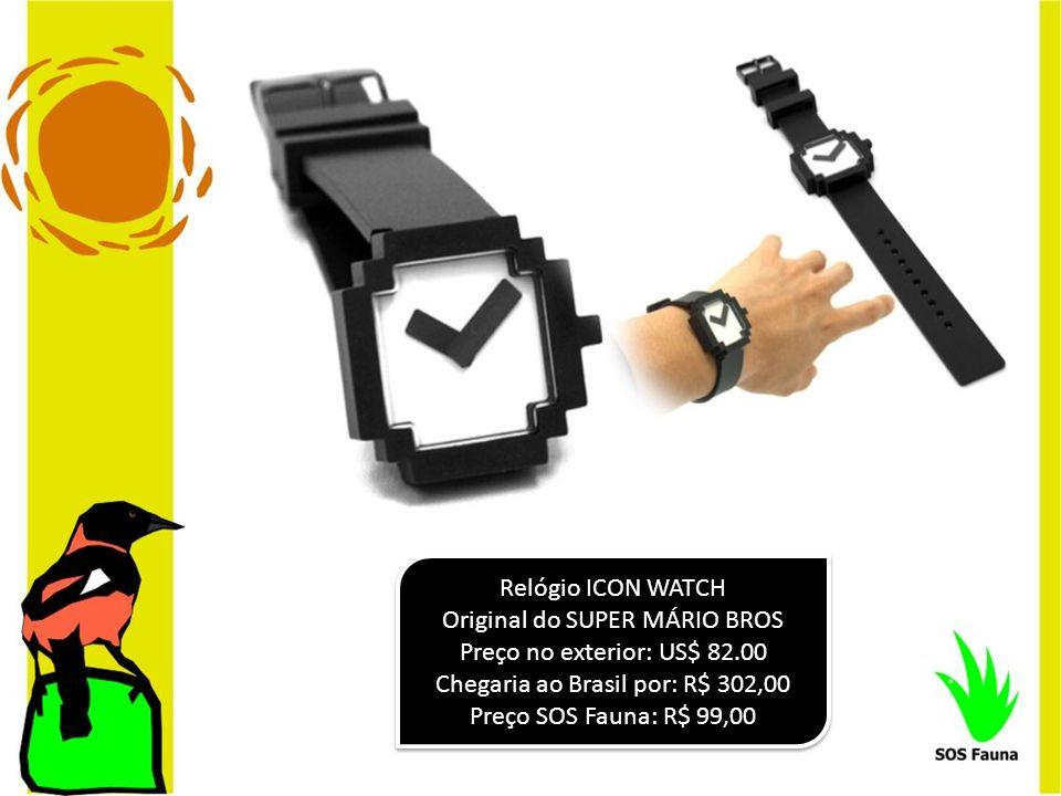 Relógio ICON WATCH Original do SUPER MÁRIO BROS Preço no exterior: US$ 82.00 Chegaria ao Brasil por: R$ 302,00 Preço SOS Fauna: R$ 99,00 Relógio ICON