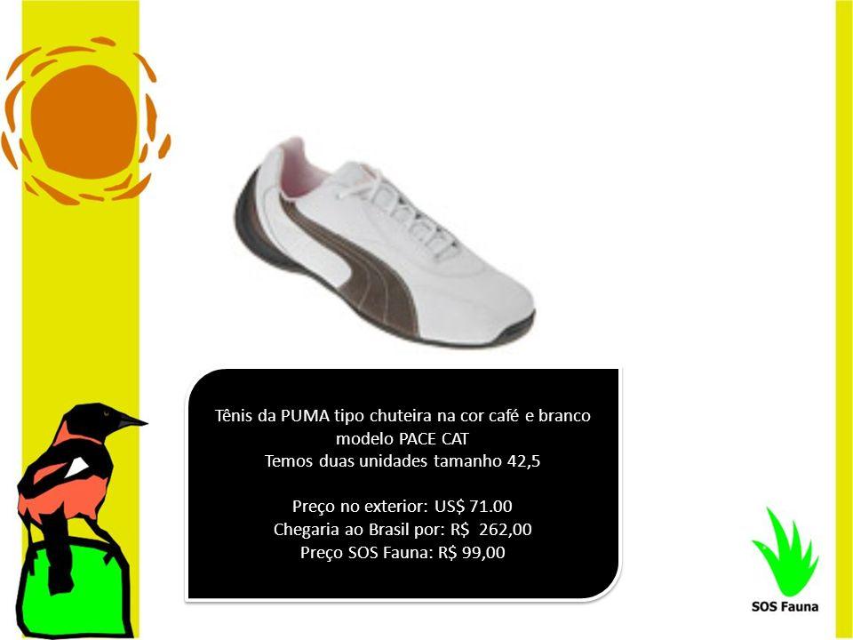 Tênis da PUMA tipo chuteira na cor café e branco modelo PACE CAT Temos duas unidades tamanho 42,5 Preço no exterior: US$ 71.00 Chegaria ao Brasil por: