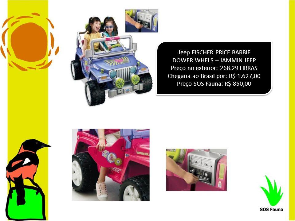 Jeep FISCHER PRICE BARBIE DOWER WHELS – JAMMIN JEEP Preço no exterior: 268.29 LIBRAS Chegaria ao Brasil por: R$ 1.627,00 Preço SOS Fauna: R$ 850,00 Je