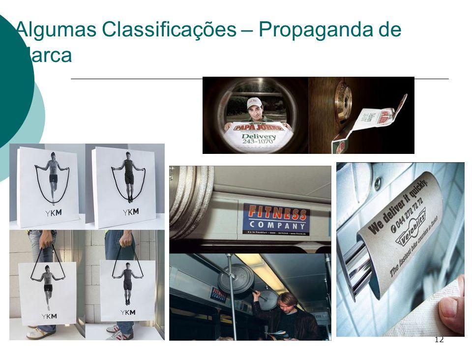 12 Algumas Classificações – Propaganda de Marca