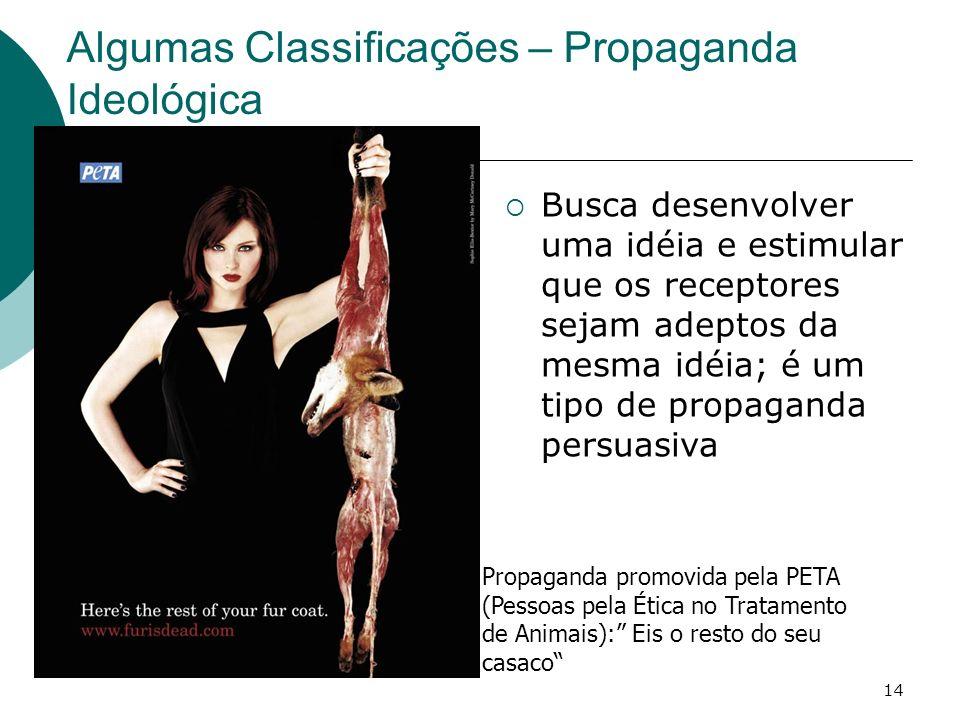 14 Algumas Classificações – Propaganda Ideológica Busca desenvolver uma idéia e estimular que os receptores sejam adeptos da mesma idéia; é um tipo de