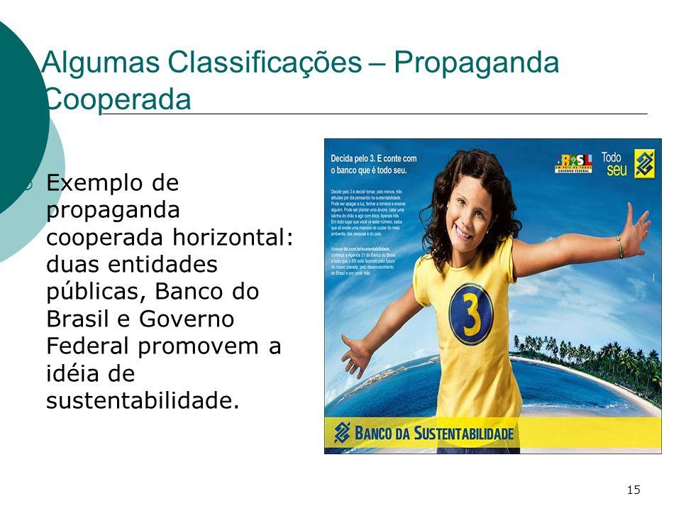 15 Algumas Classificações – Propaganda Cooperada Exemplo de propaganda cooperada horizontal: duas entidades públicas, Banco do Brasil e Governo Federa