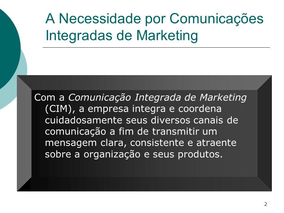 2 A Necessidade por Comunicações Integradas de Marketing Com a Comunicação Integrada de Marketing (CIM), a empresa integra e coordena cuidadosamente s