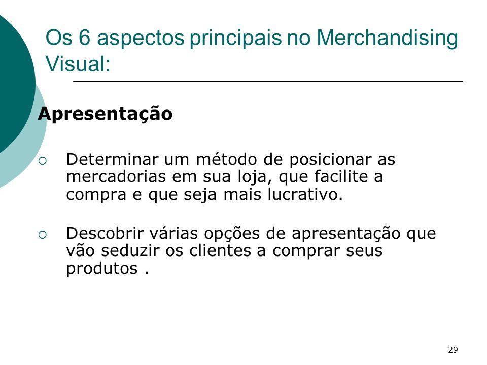 29 Apresentação Determinar um método de posicionar as mercadorias em sua loja, que facilite a compra e que seja mais lucrativo. Descobrir várias opçõe
