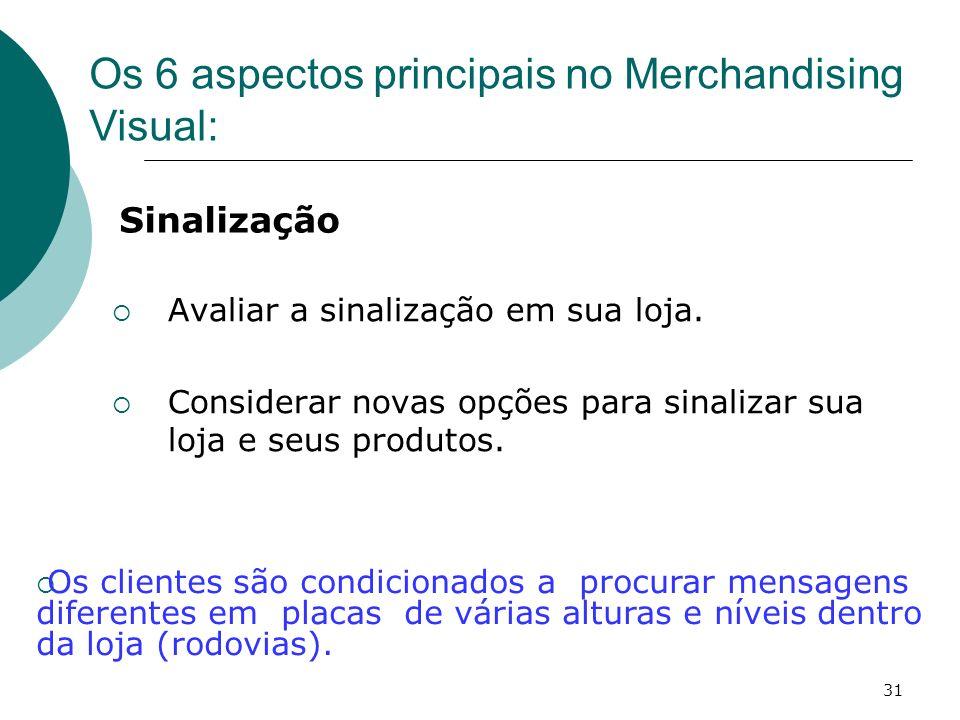 31 Avaliar a sinalização em sua loja. Considerar novas opções para sinalizar sua loja e seus produtos. Os 6 aspectos principais no Merchandising Visua